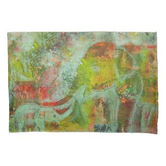 Funda de almohada con diseño colorido del elefante