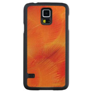 Funda De Arce Para Galaxy S5 De Carved Extracto anaranjado de la pluma del Macaw de