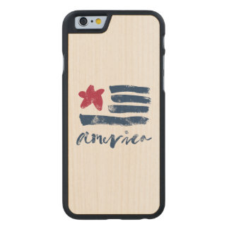 Funda De Arce Para iPhone 6 De Carved Bandera americana Paintstrokes