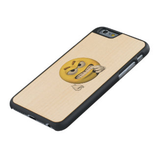 Funda De Arce Para iPhone 6 De Carved Emoticon enojado amarillo o smiley