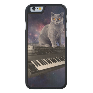 Funda De Arce Para iPhone 6 De Carved gato del teclado - música del gato - espacie el