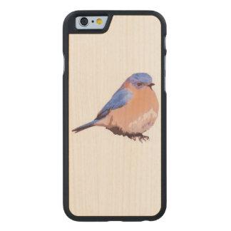 Funda De Arce Para iPhone 6 De Carved pájaro de madera del azul de la caja de la cereza