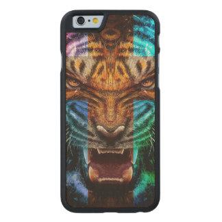 Funda De Arce Para iPhone 6 De Carved Tigre cruzado - tigre enojado - cara del tigre -