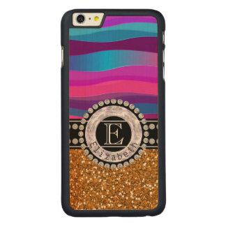 Funda De Arce Para iPhone 6 Plus De Carved Azul rosado femenino, brillo del oro, diamantes,