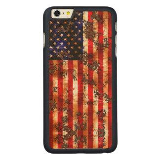 Funda De Arce Para iPhone 6 Plus De Carved Bandera vertical americana oxidada resistida