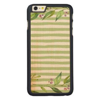 Funda De Arce Para iPhone 6 Plus De Carved El verde intrépido del arte de la acuarela raya
