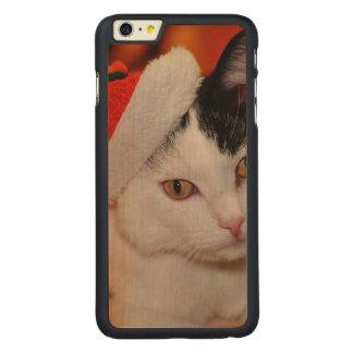 Funda De Arce Para iPhone 6 Plus De Carved Gato de Papá Noel - Felices Navidad - acaricie el