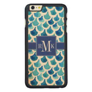 Funda De Arce Para iPhone 6 Plus De Carved Modelo azul de la escala de la acuarela