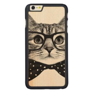 Funda De Arce Para iPhone 6 Plus De Carved pajarita del gato - gato de los vidrios - gato de