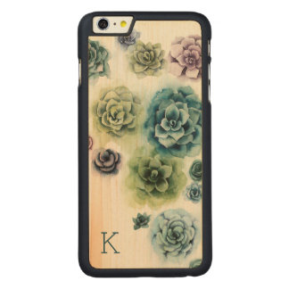 Funda De Arce Para iPhone 6 Plus De Carved Racimo de Succulents