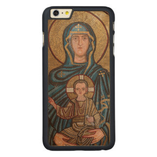 Funda De Arce Para iPhone 6 Plus De Carved Virgen María y mosaico de Jesús