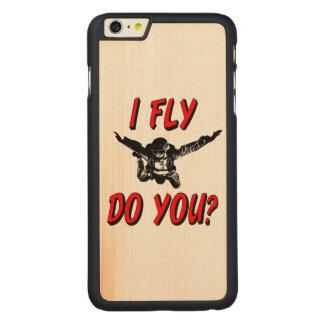 Funda De Arce Para iPhone 6 Plus De Carved ¿Vuelo, hace usted? (negro)