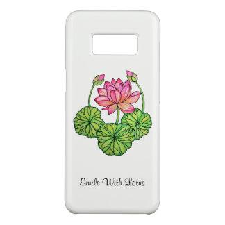 Funda De Case-Mate Para Samsung Galaxy S8 Acuarela Lotus rosado con los brotes y las hojas