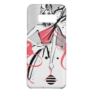 Funda De Case-Mate Para Samsung Galaxy S8 chica marchosa en el fondo de plata