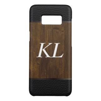Funda De Case-Mate Para Samsung Galaxy S8 Cuero de madera del monograma