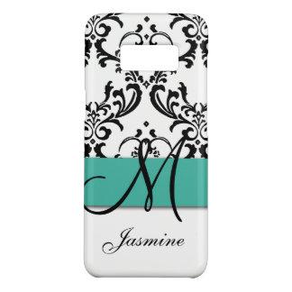Funda De Case-Mate Para Samsung Galaxy S8 Damasco femenino de los remolinos del negro de la
