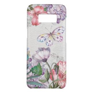 Funda De Case-Mate Para Samsung Galaxy S8 El jardín de la acuarela florece la libélula de la