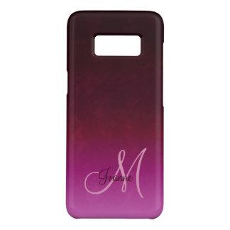 Funda De Case-Mate Para Samsung Galaxy S8 Monograma de Borgoña Ombre de las rosas fuertes