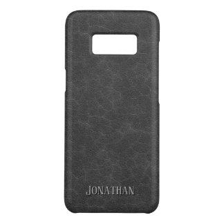 Funda De Case-Mate Para Samsung Galaxy S8 Monograma de cuero gris oscuro masculino de la
