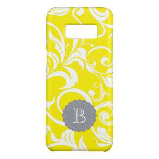 Funda De Case-Mate Para Samsung Galaxy S8 Monograma gris amarillo moderno del remolino del