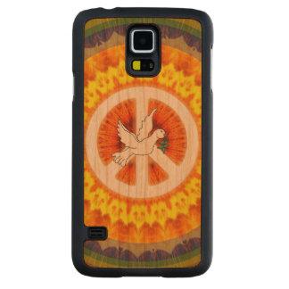Funda De Cerezo Para Galaxy S5 De Carved Paloma psicodélica de la paz