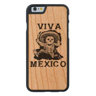 Funda De Cerezo Para iPhone 6 De Carved Día de Viva México del cráneo muerto