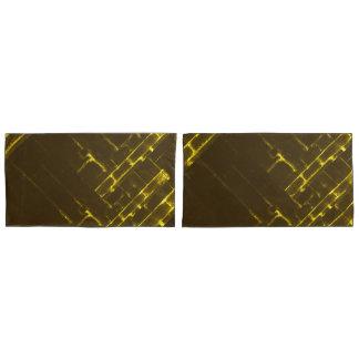 Funda De Cojín Armadura geométrica amarilla rústica del batik de