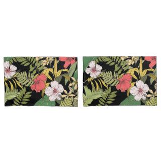 Funda De Cojín Floral tropical en negro