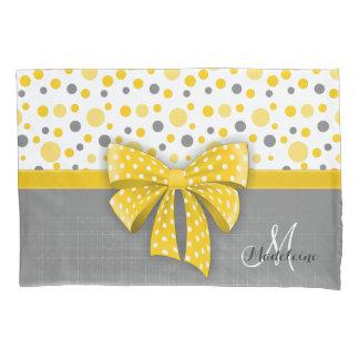 Funda De Cojín Lunares grises y amarillos, cinta amarilla soleada