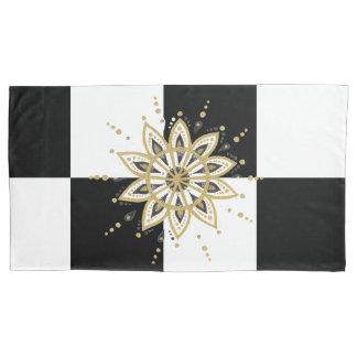 Funda De Cojín Mandala negra y blanca del oro moderno