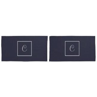 Funda De Cojín Monograma reversible gris y blanco
