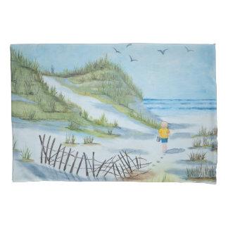 Funda De Cojín pintura de la playa de la acuarela con el niño y