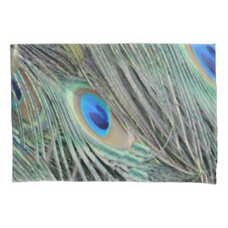 Funda De Cojín Plumas del Peafowl con los ojos grandes
