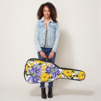 Funda De Guitarra Bolso azul amarillo de la guitarra de los flores
