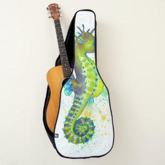 Funda De Guitarra Chapoteo del Seahorse del verde amarillo