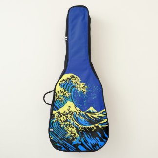 Funda De Guitarra La gran onda de Hokusai en estilo amarillo azul