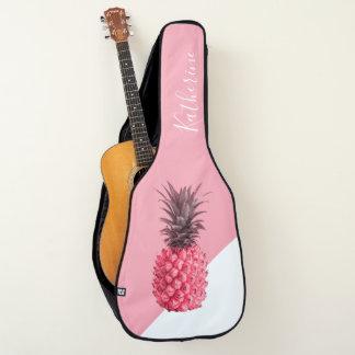 Funda De Guitarra Piña rosada y blanca tropical femenina linda