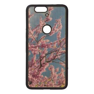 Funda De Madera Para Nexus 6P Caja rosada del teléfono de la flor del nexo 6p de