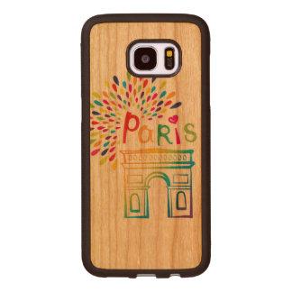 Funda De Madera Para Samsung Galaxy S7 Edge Diseño de neón de París Francia el | Arco del