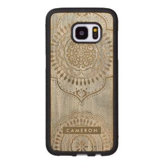 Funda De Madera Para Samsung Galaxy S7 Edge Diseño del oro de la mandala