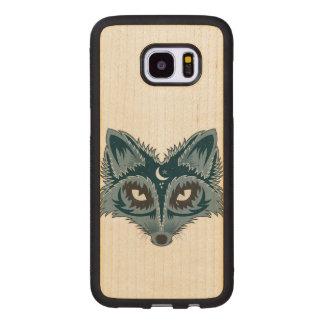 Funda De Madera Para Samsung Galaxy S7 Edge Ejemplo colorido del Fox
