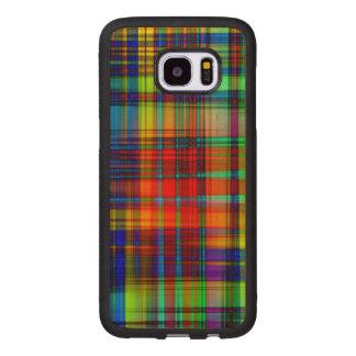 Funda De Madera Para Samsung Galaxy S7 Edge El extracto colorido raya arte