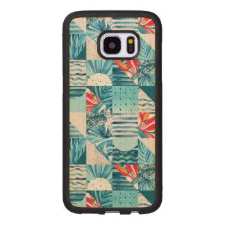 Funda De Madera Para Samsung Galaxy S7 Edge Modelo abstracto geométrico verde azulado tropical