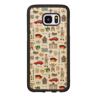 Funda De Madera Para Samsung Galaxy S7 Edge Modelo de los símbolos de Alemania el |