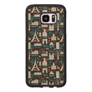 Funda De Madera Para Samsung Galaxy S7 Edge Modelo de los símbolos de Francia el  