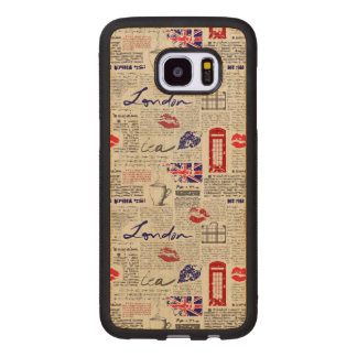 Funda De Madera Para Samsung Galaxy S7 Edge Modelo del periódico de Londres