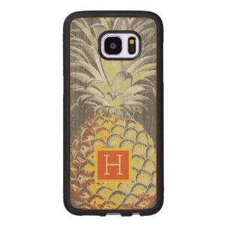 Funda De Madera Para Samsung Galaxy S7 Edge Pinneapple amarillo tropical en gris