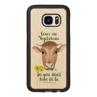 Funda De Madera Para Samsung Galaxy S7 Las vacas son diseño divertido de los vegetarianos