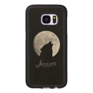 Funda De Madera Para Samsung Galaxy S7 Lobo que grita en la Luna Llena, su nombre