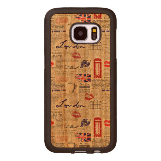 Funda De Madera Para Samsung Galaxy S7 Modelo del periódico de Londres